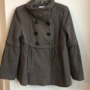 Ann Taylor Loft Cowl Neck Brown Military Jacket 6